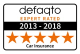 Defaqto 5 star rating 2013-2018  car insurance logo