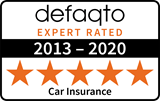 Defaqto 5 star rating 2013-2020 car insurance logo