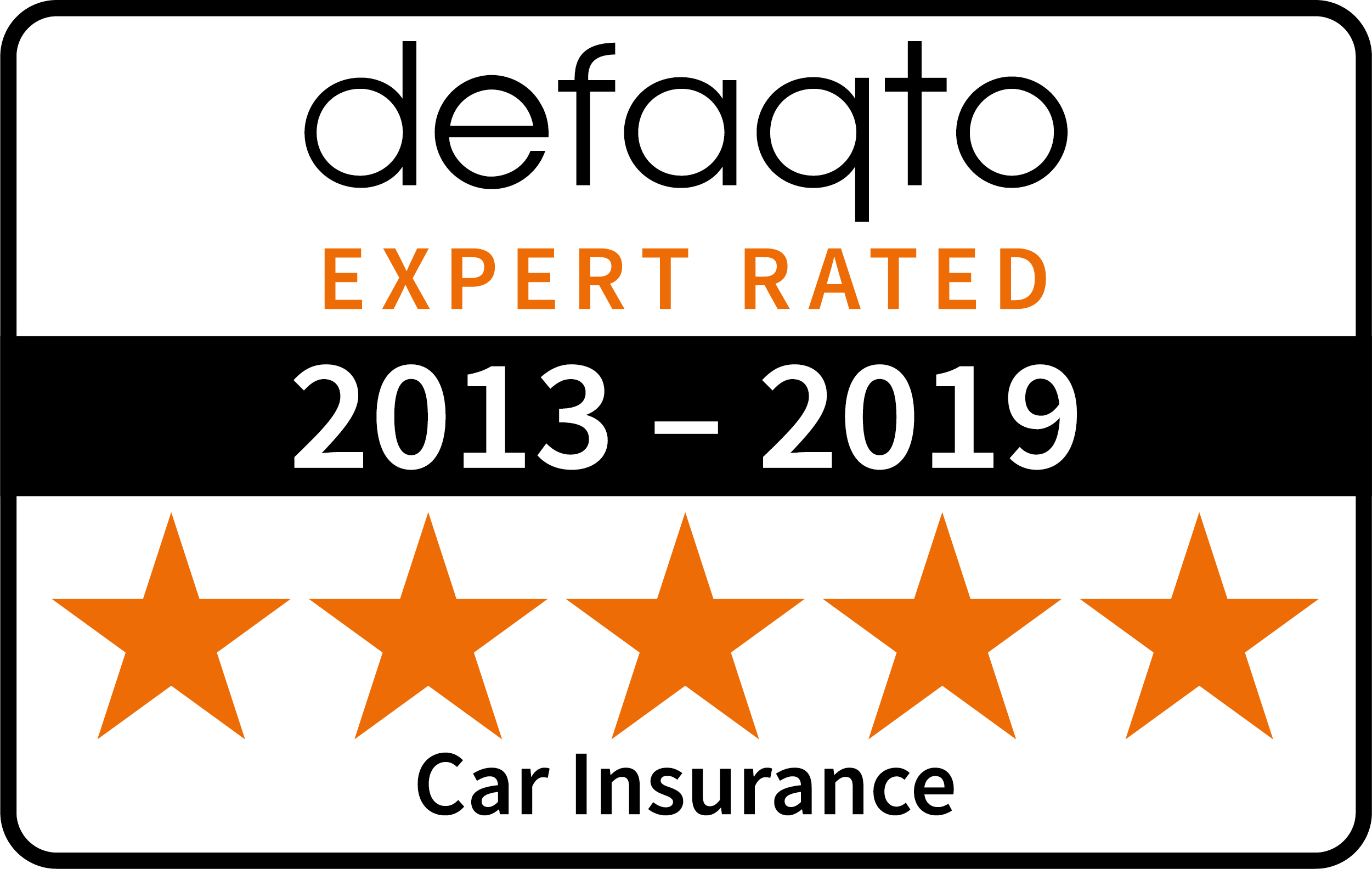 Defaqto 5 star rating 2013-2019 car insurance logo
