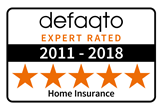 Defaqto 5 star rating  2013-2018  home insurance logo