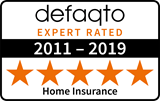 Defaqto 5 star rating 2011-2019 home insurance logo