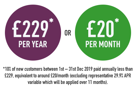 Purple and green car insurance price roundels