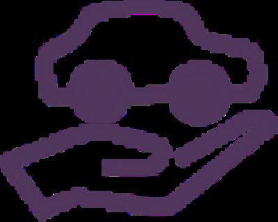 Car in a hand purple icon