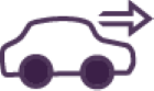 Car and arrow purple icon
