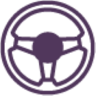 Steering wheel purple icon