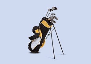 Golf clubs in a golf bag on a blue background