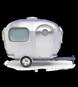 A silver caravan
