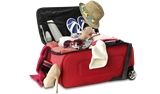 Red travel bag with clothes and personal items