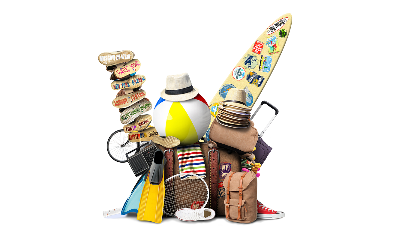 Travel and holiday items piled up