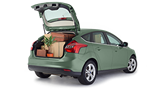 Rias car with boot open packed with boxes