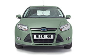 Mint green coloured car with a personalised Rias plate