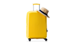 A yellow suitcase and a hat