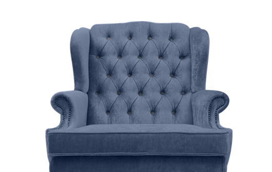 A blue armchair with Which? recommended provider logo