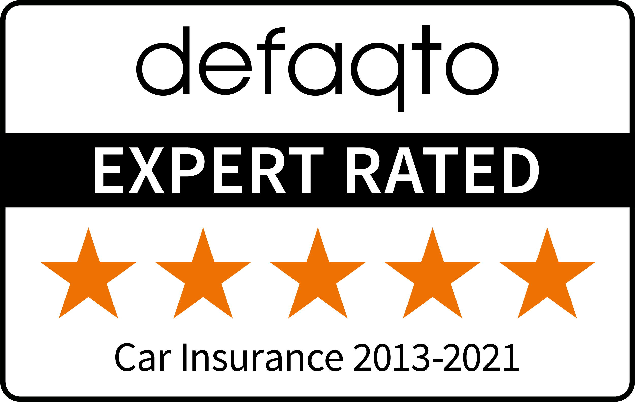 Defaqto 5 star rating 2013-2021 car insurance logo