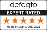 Defaqto 5 star rating 2011-2021 home insurance logo