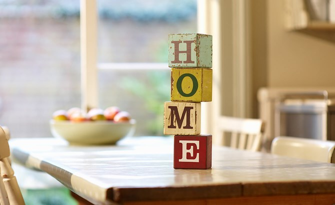 Building blocks spelling out the word home