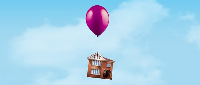 A house in the sky attached to a pink balloon