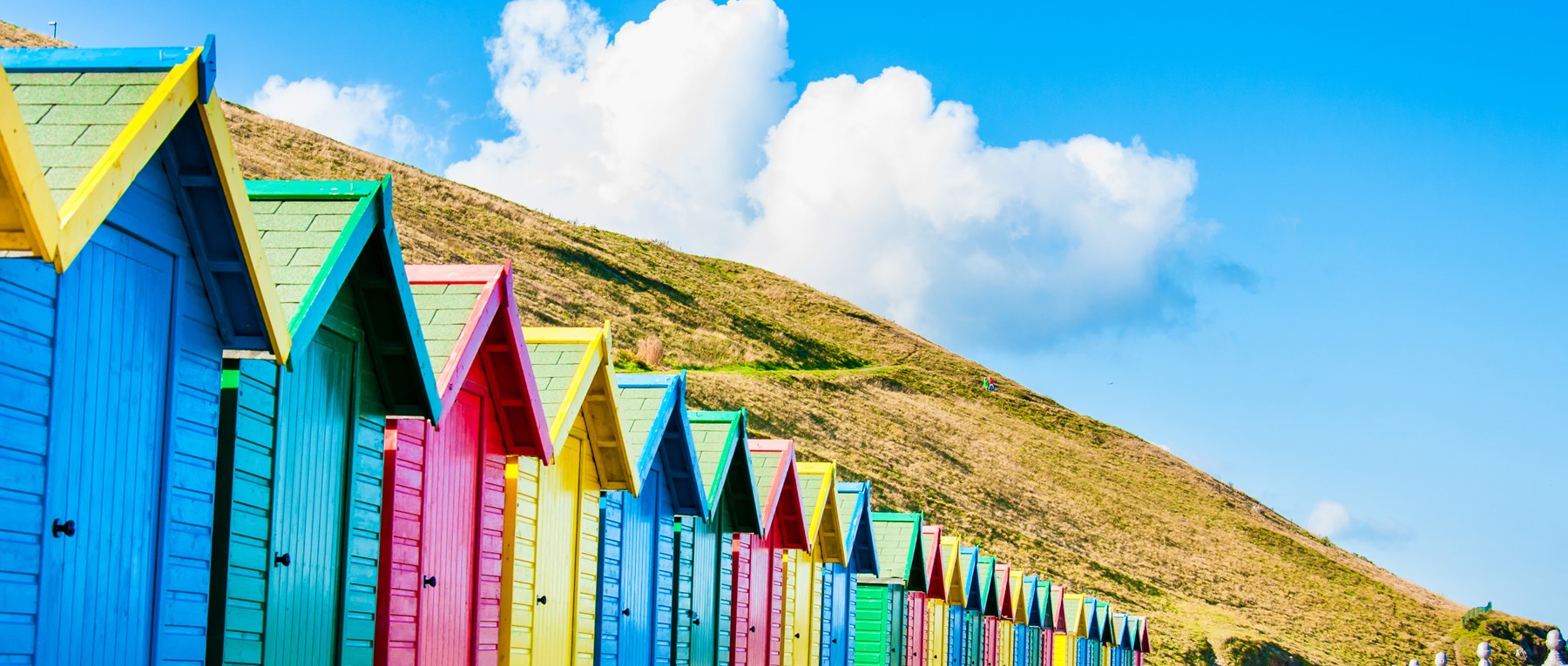 A row of beach huts