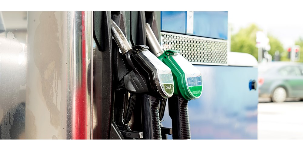 Petrol and diesel pumps at petrol station