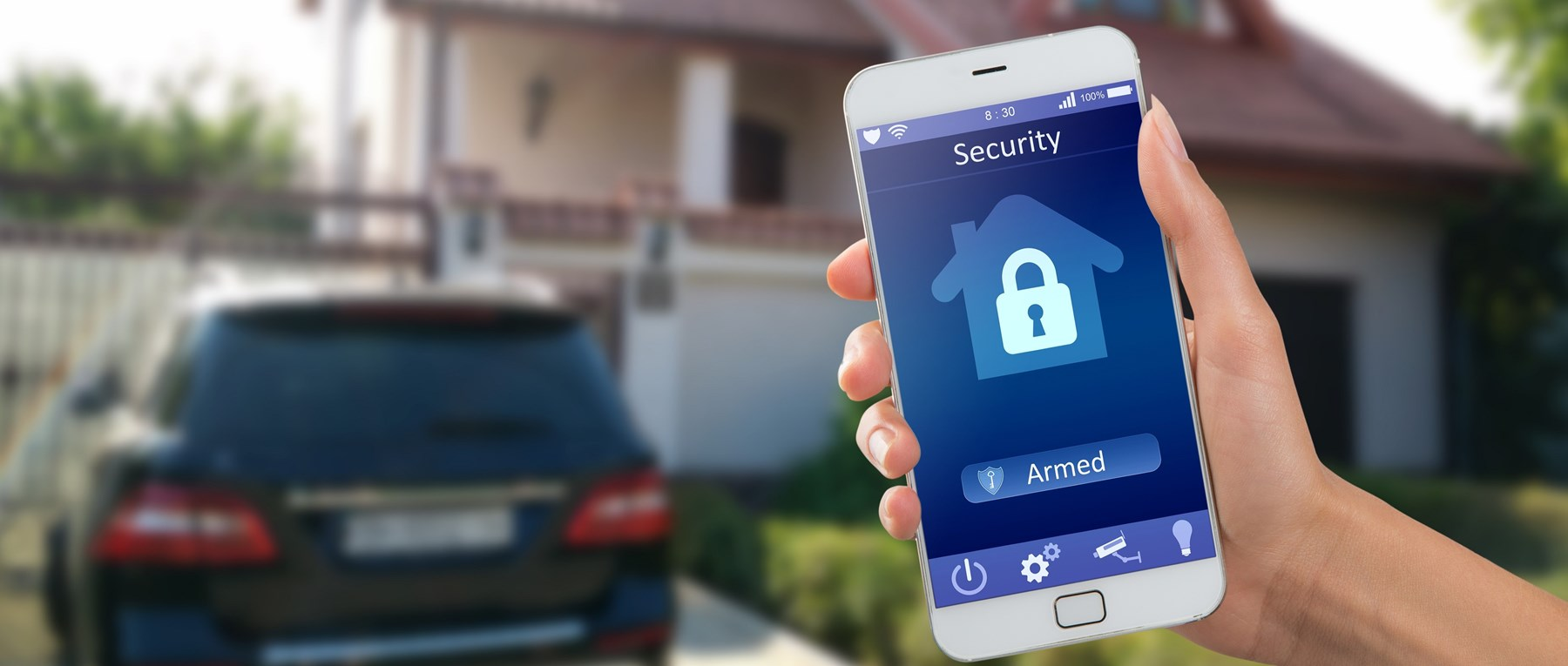 Mobile phone with home security system set up