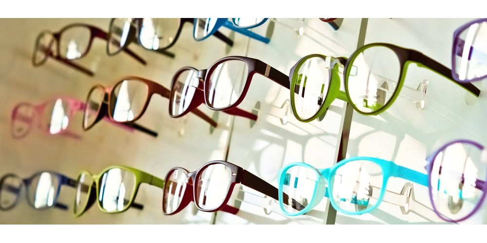 Glasses in an opticians