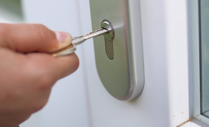 Opening a house door