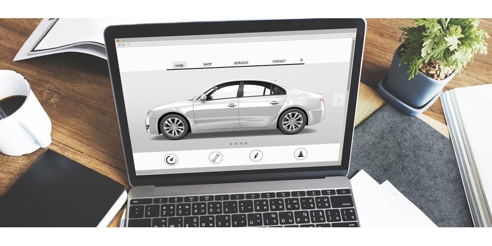Car image on a laptop