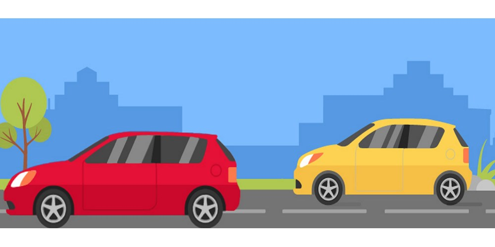 Illustration of red and yellow car on road