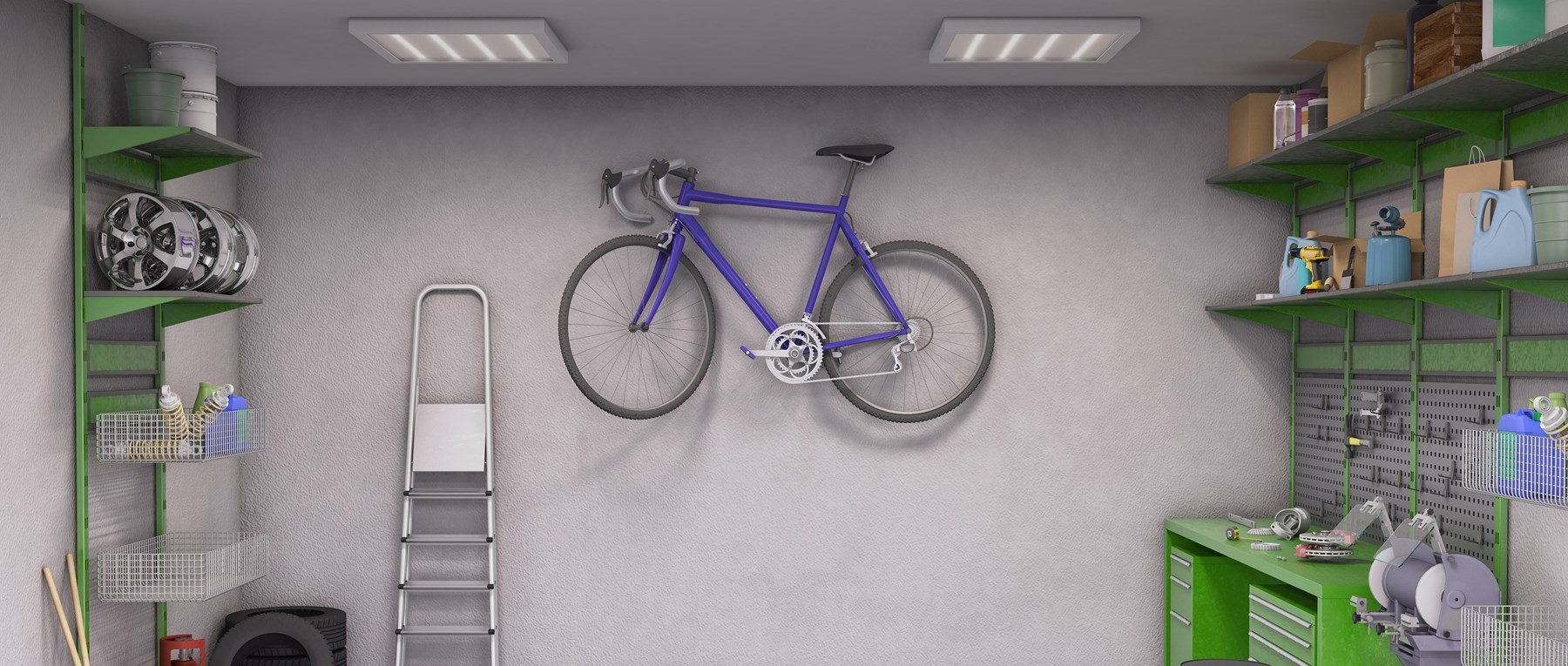 Garage interior with purple bicycle hanging on the wall