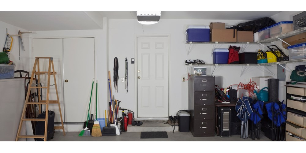 Garage interior filled with household items