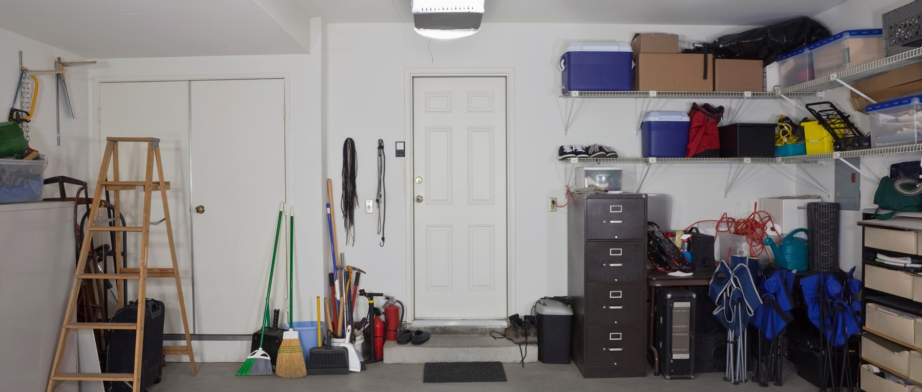 Garage interior with household items