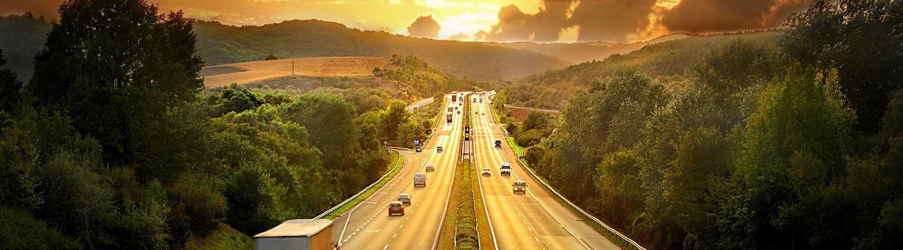 Motorway view at sunset