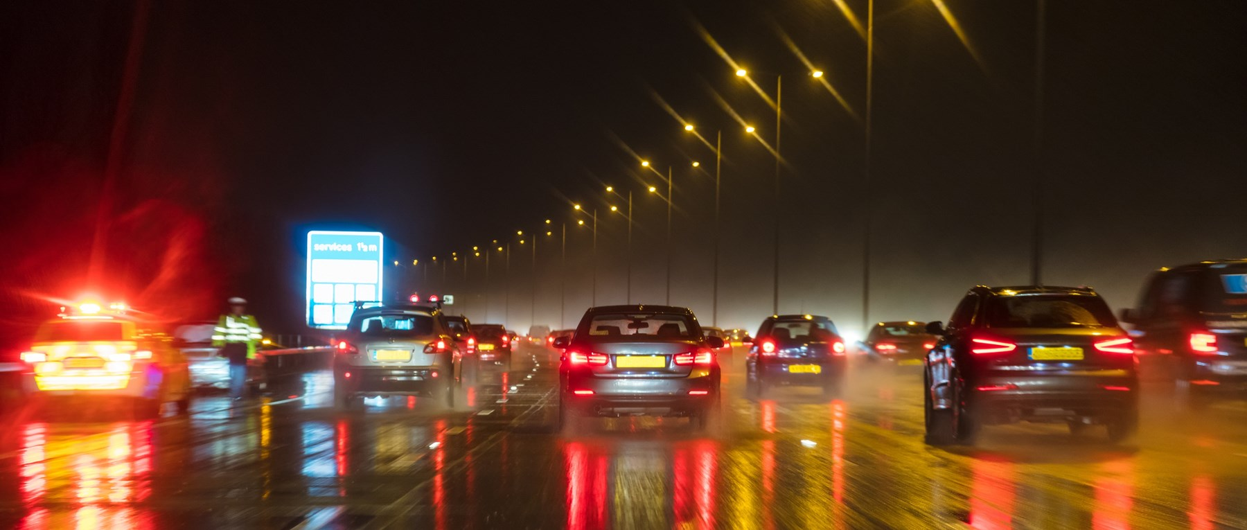 Night traffic on busy road