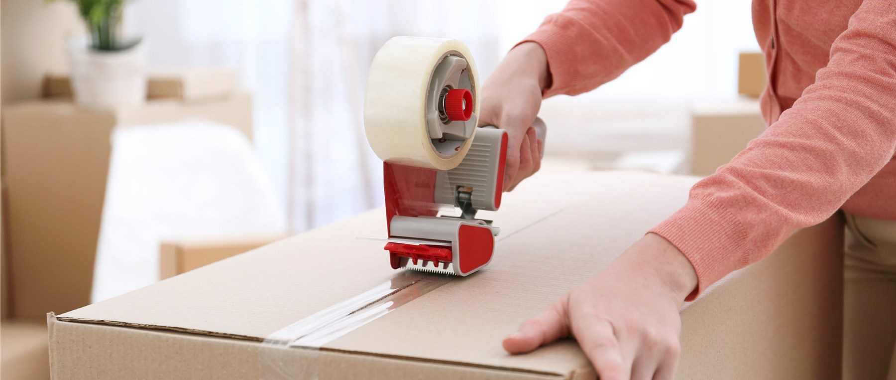 A box being taped up