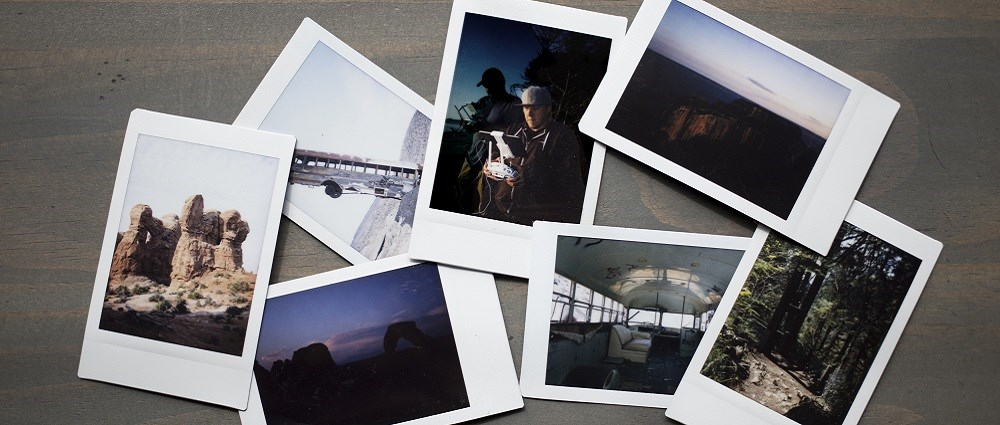 Scattered Polaroid pictures