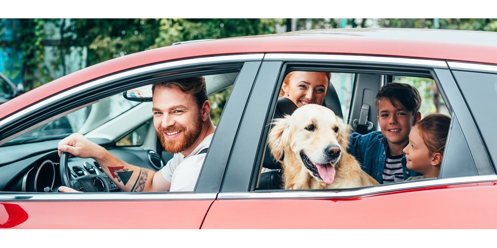 family and dog in red car