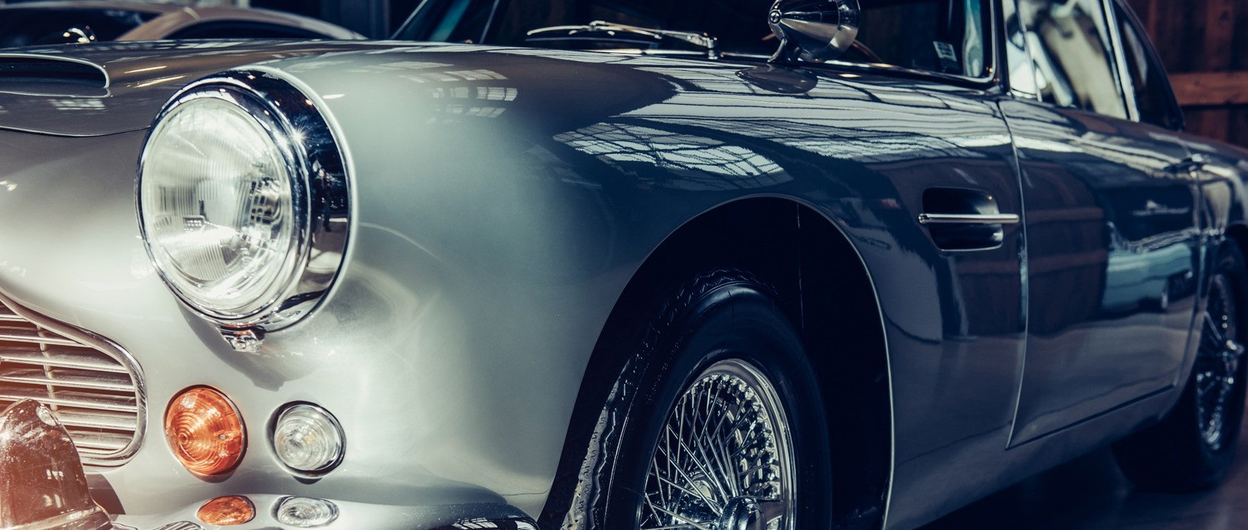 Silver classic car