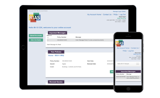 Mobile phone and tablet displaying Rias registration page